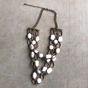 Jewelry - Three Layed Chunky Collar Necklace Gold and White
